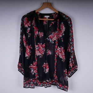 JOIE Sheer Floral 100% Silk Blouse